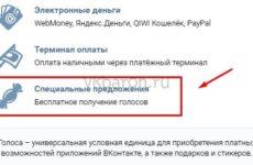 Как получить специальные предложения Вконтакте на голоса